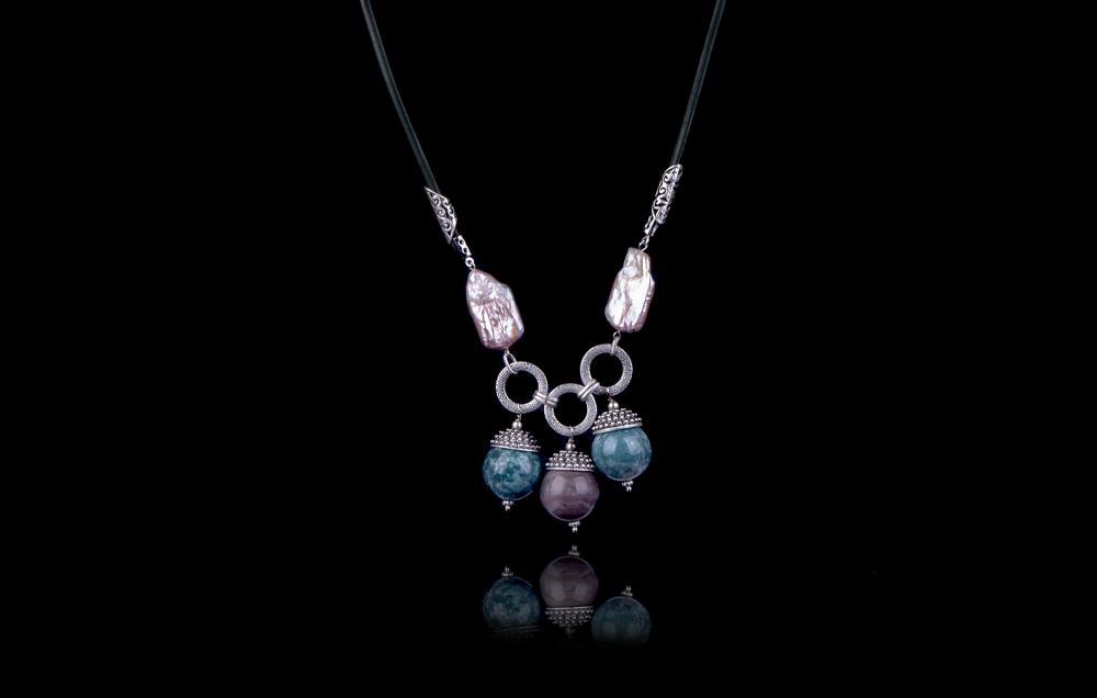 Agate de India- Perle Biwa