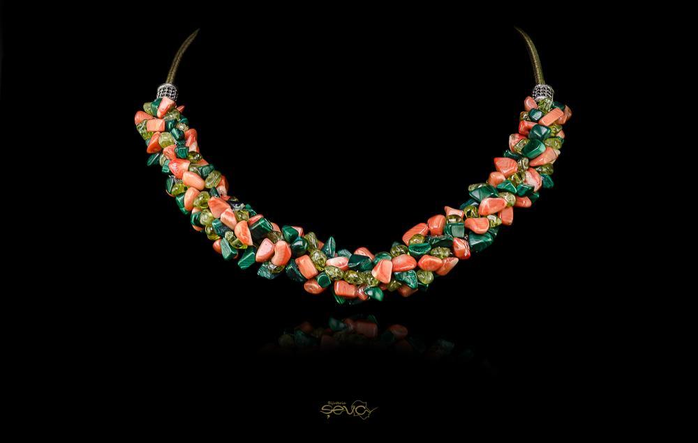 Malachit-Coral portocaliu-Peridot